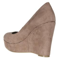 Riverberry Women's 'Confetti' Taupe Microsuede Wedges - Thumbnail 1