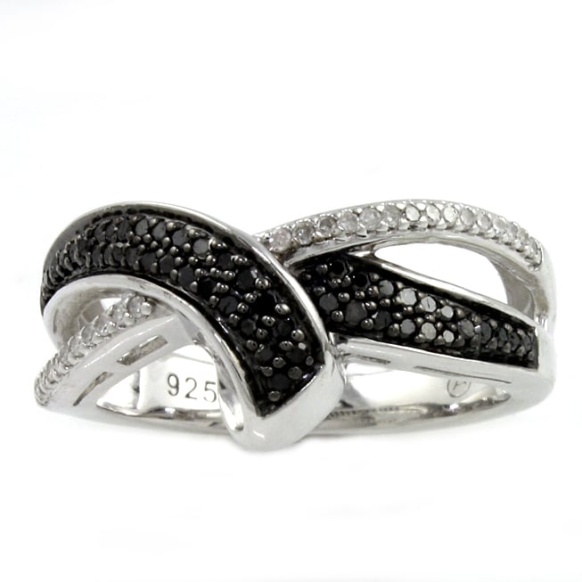 Sterling Silver 1/4ct TDW Black and White Crossover Diamond Ring