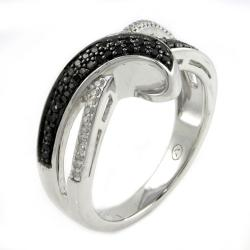 Sterling Silver 1/4ct TDW Black and White Crossover Diamond Ring - Thumbnail 1