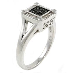 Beverly Hills Charm Sterling Silver 1/5ct TDW Black and White Square Diamond Ring
