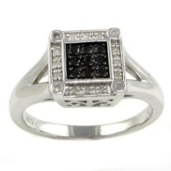 Sterling Silver 1/5ct TDW Black and White Square Diamond Ring