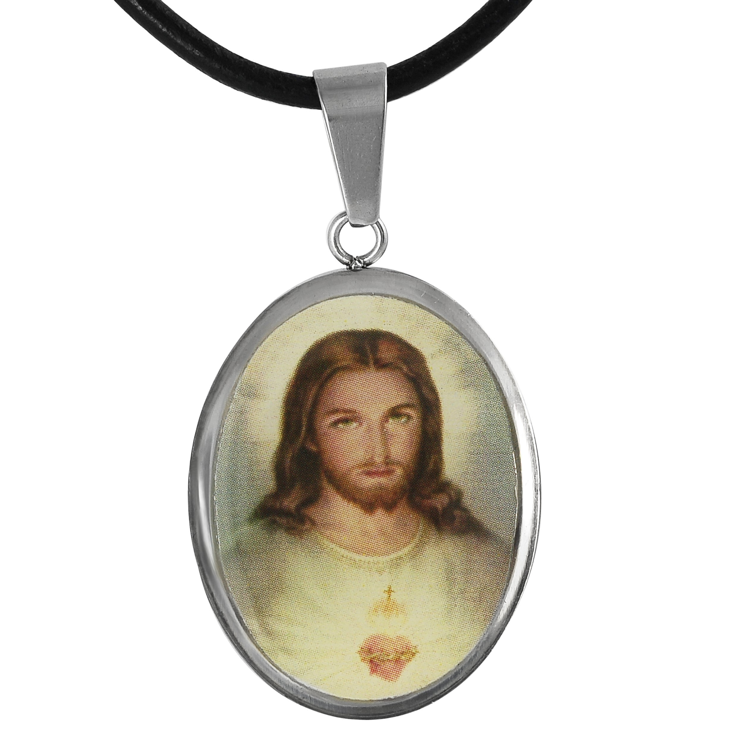 Journee Collection Stainless Steel Jesus Tag Necklace