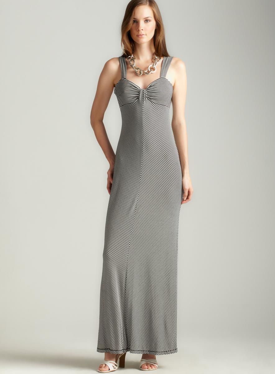 Max Studio Striped Jersey Maxi Dress
