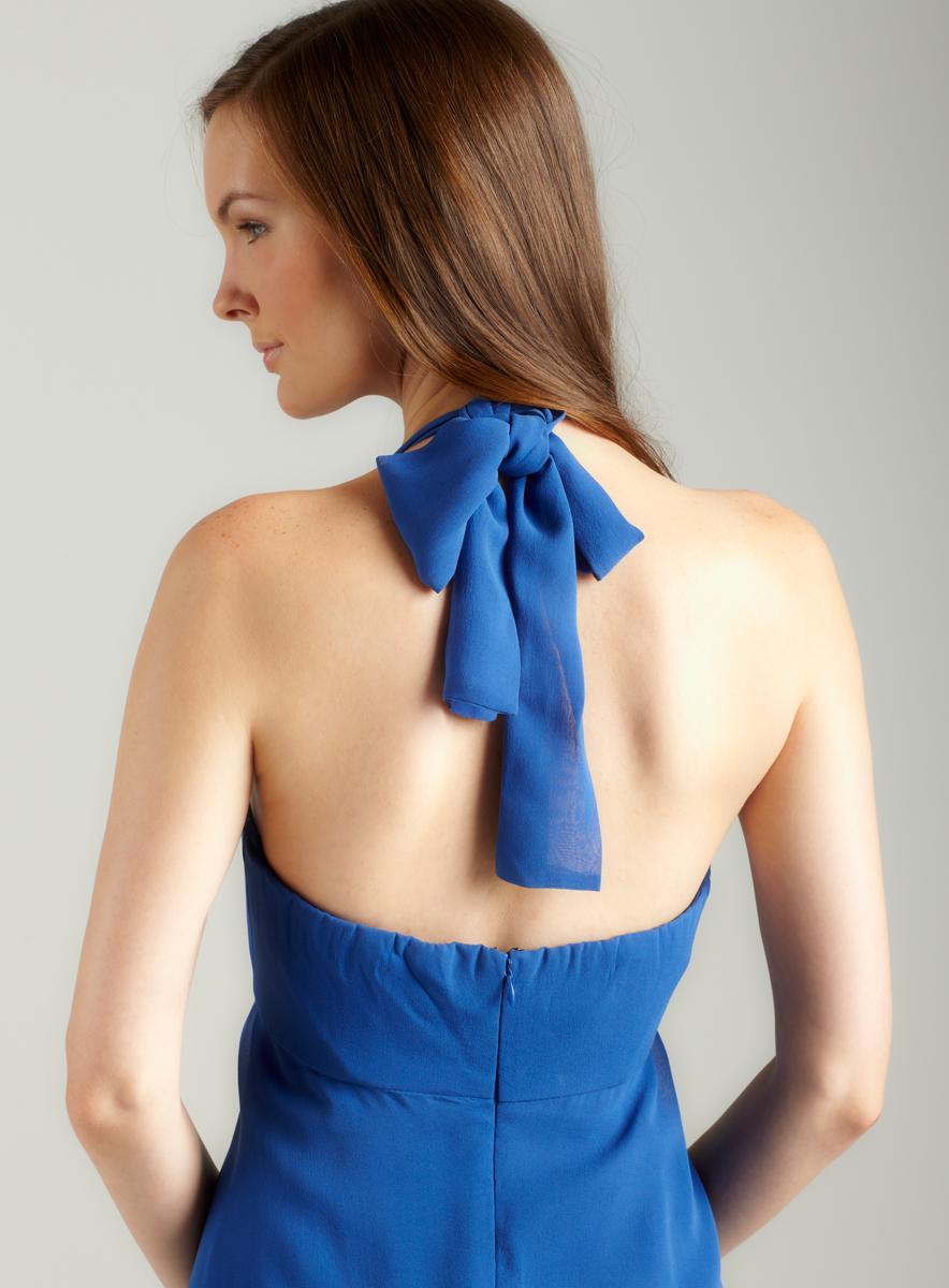 Donna Ricco Halter Shirred Bodice Dress