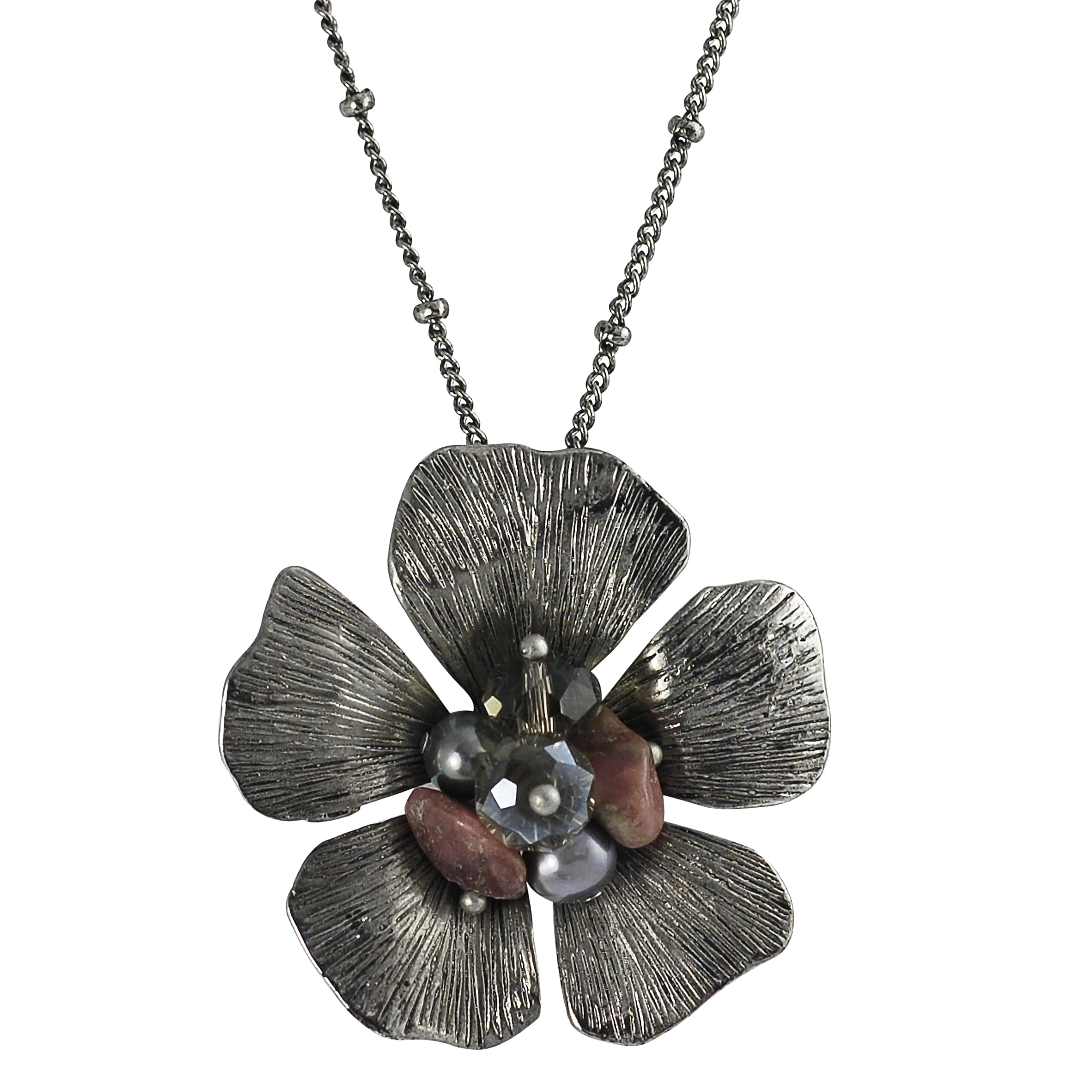 Journee Collection Rhodium-plated Crystal Pearl Lucite Flower Necklace