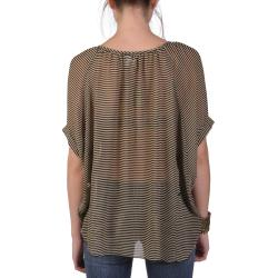 Tressa Designs Women's Contemporary Plus Flowing Sheer Striped Top