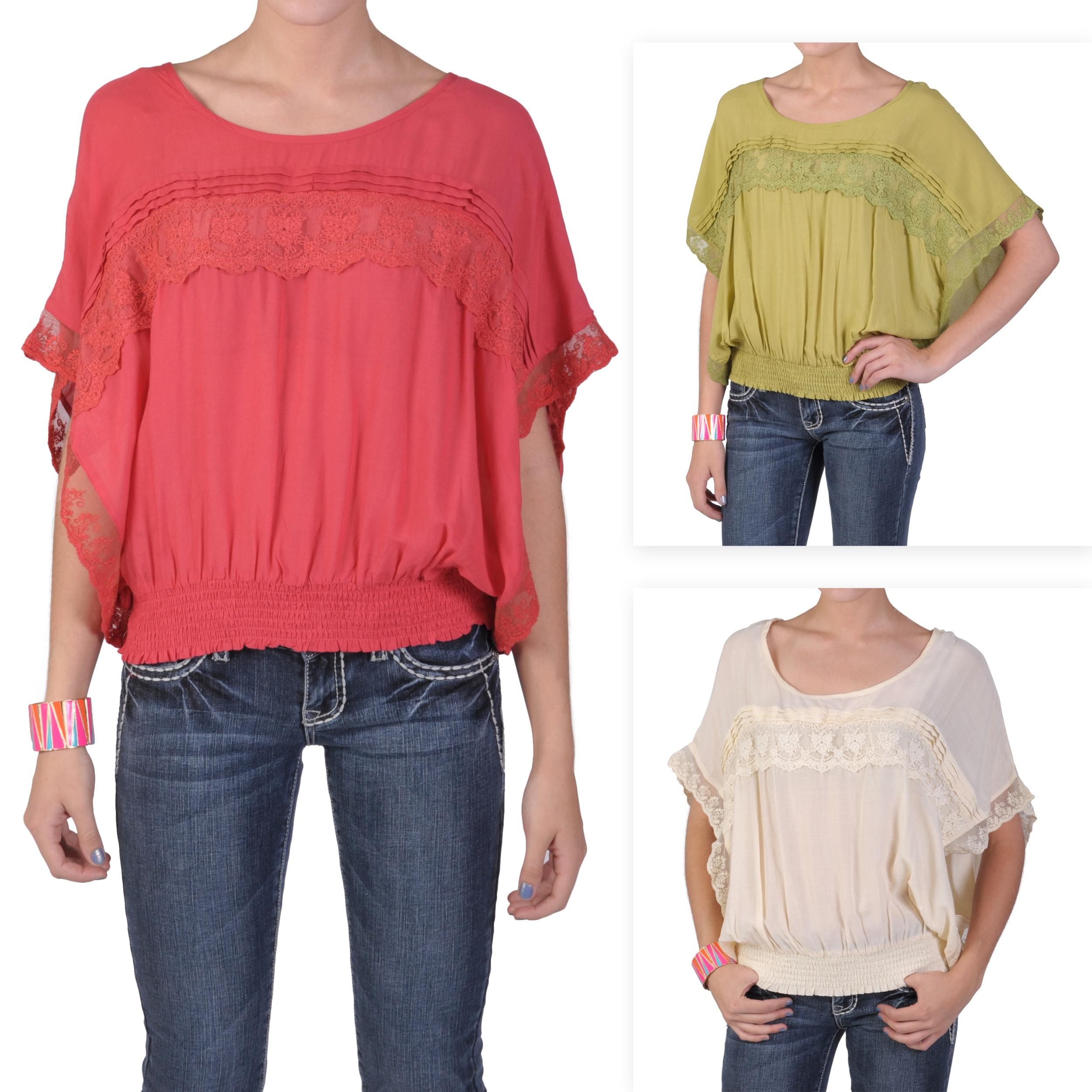 Tressa Designs Women's Contemporary Plus Wide Sleeve Lace Detail Top