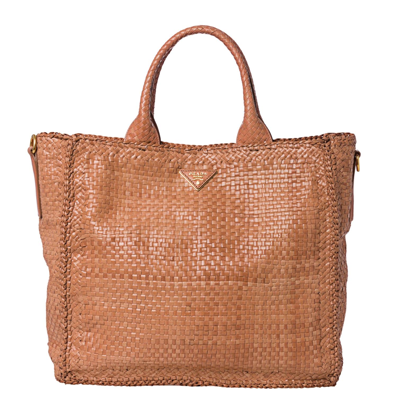 Prada Woven Blush Leather Madras Tote Bag