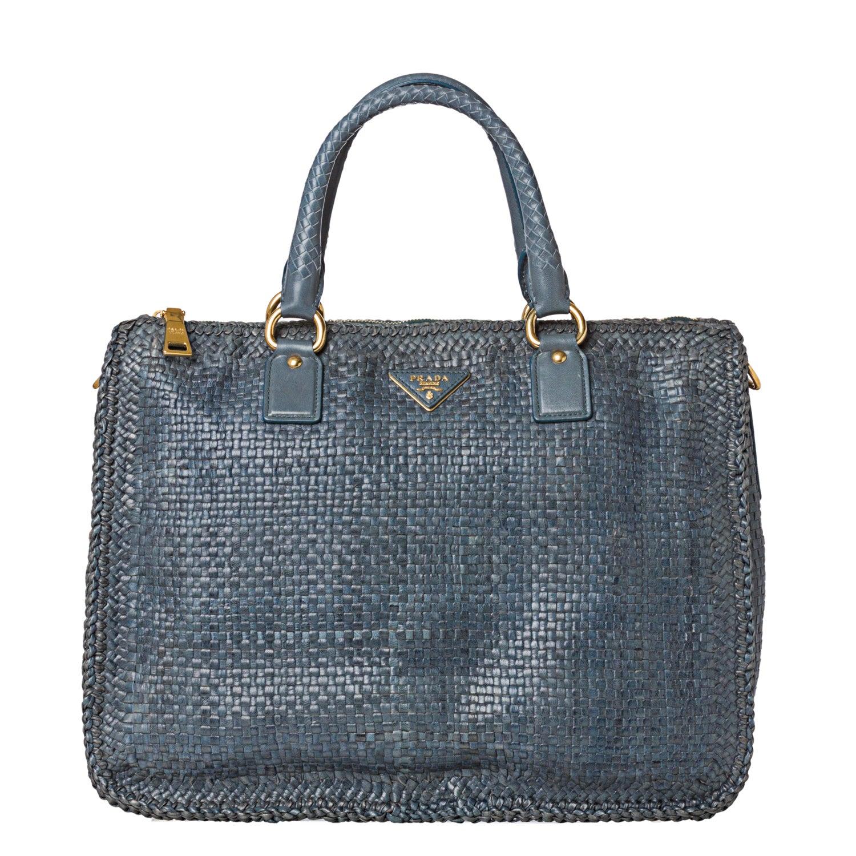 Prada Woven Blue Leather Madras Satchel