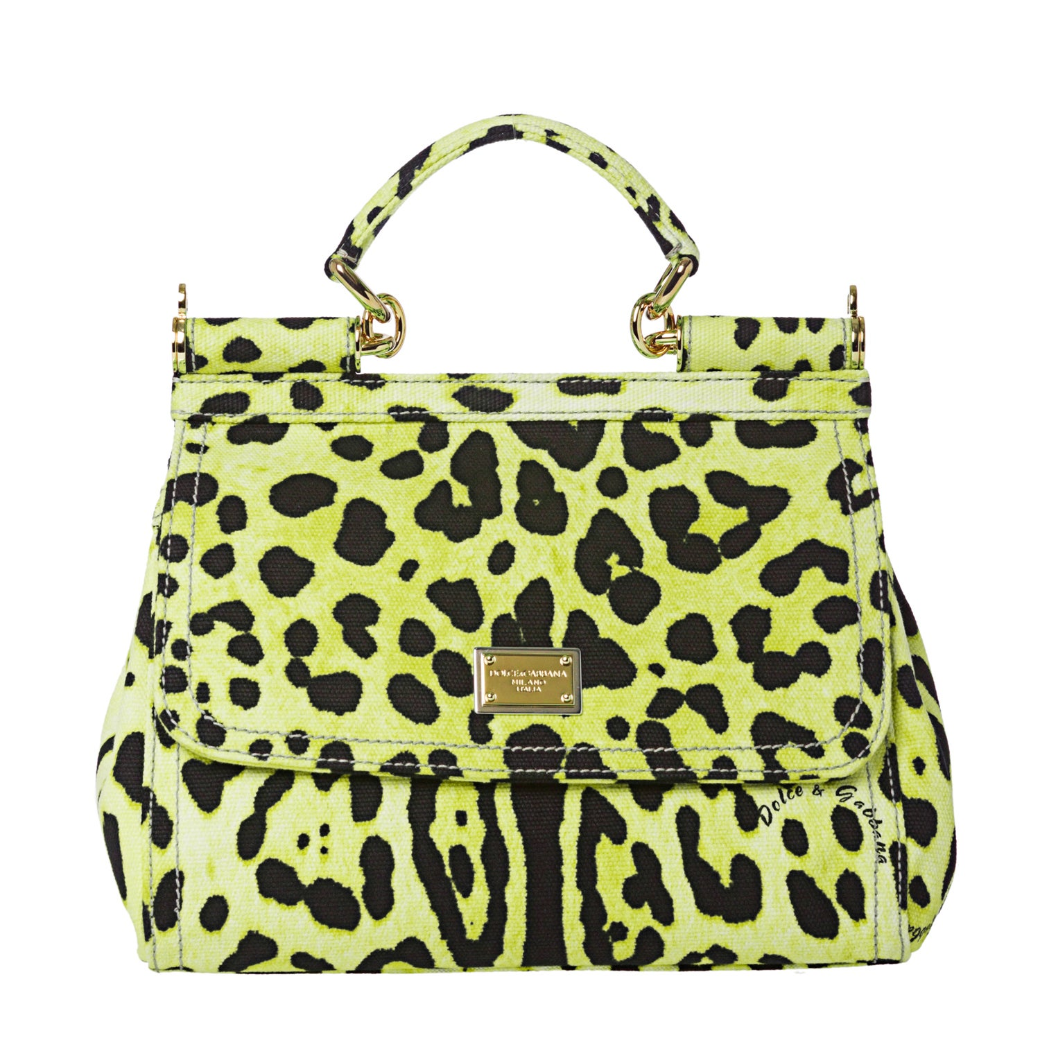 Dolce & Gabbana Miss Sicily Small Green Leopard Canvas Satchel