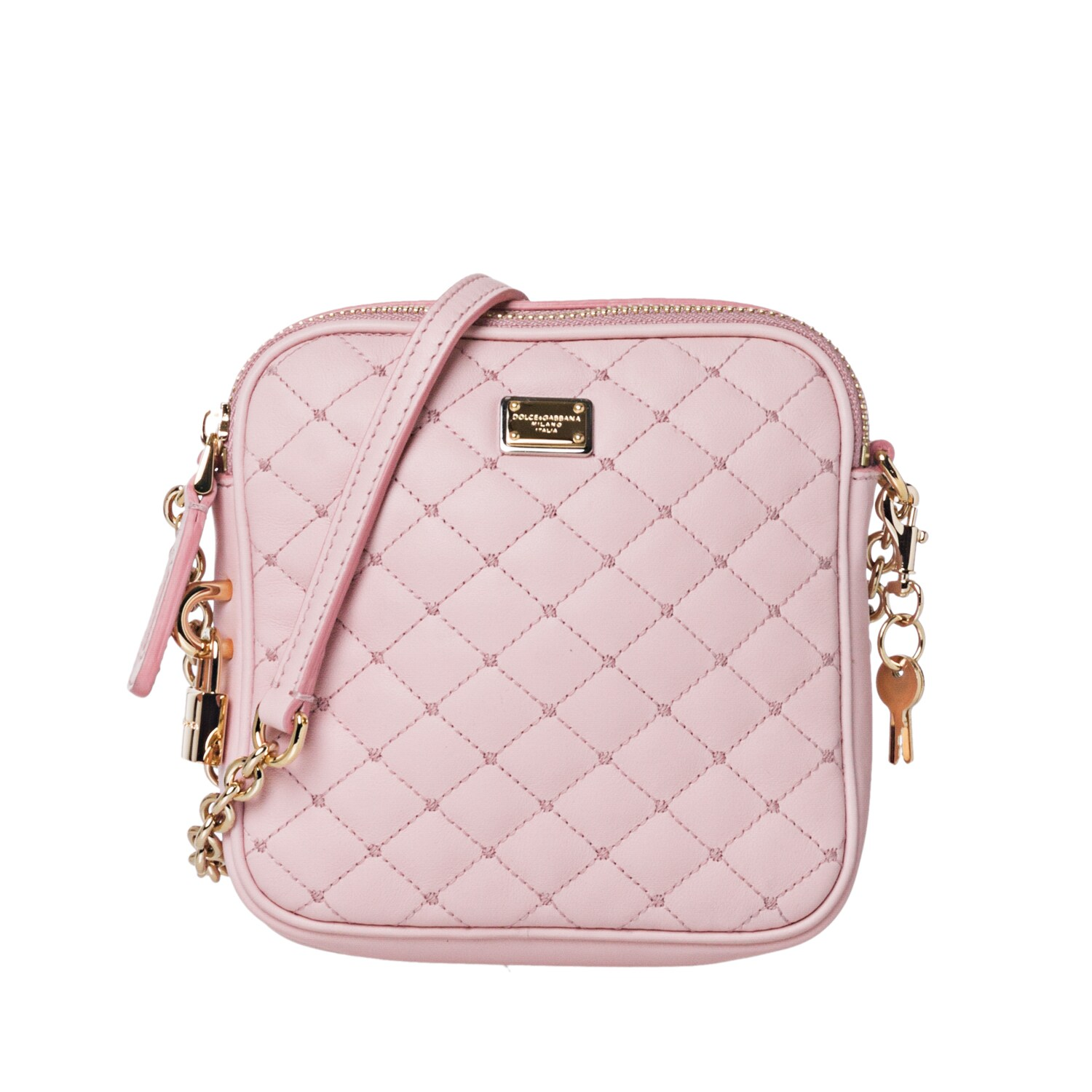 Dolce & Gabbana Baby Pink Quilted Leather Cross-body Bag