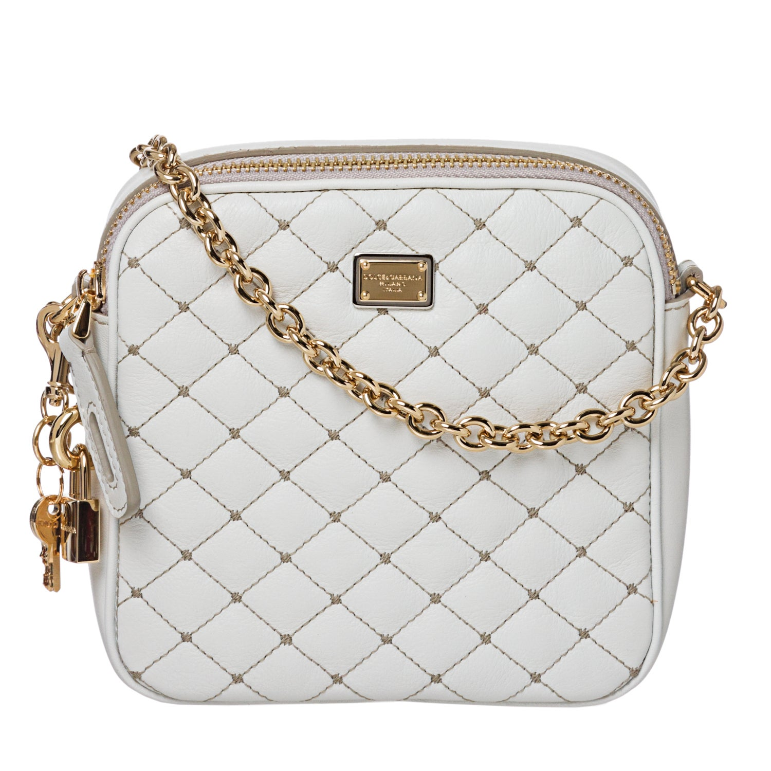 Dolce & Gabbana White Quilted Leather Cross-body Bag
