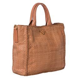 Prada Woven Blush Leather Madras Tote Bag - Thumbnail 1