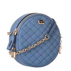 Dolce & Gabbana Baby Blue Quilted Leather Round Cross-body Bag - Thumbnail 1