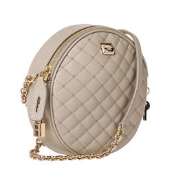 Dolce & Gabbana Taupe Quilted Leather Round Cross-body Bag - Thumbnail 1