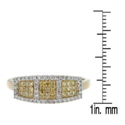 D'sire 10k Yellow Gold 1/3ct TDW Yellow and White Diamond Ring (H-I, I2-I3) - Thumbnail 2