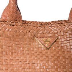 Prada Woven Blush Leather Madras Tote Bag - Thumbnail 2