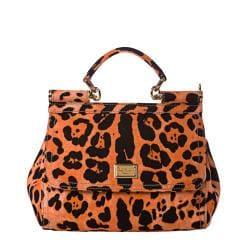 Dolce & Gabbana 'Miss Sicily' Small Orange Leopard Canvas Satchel