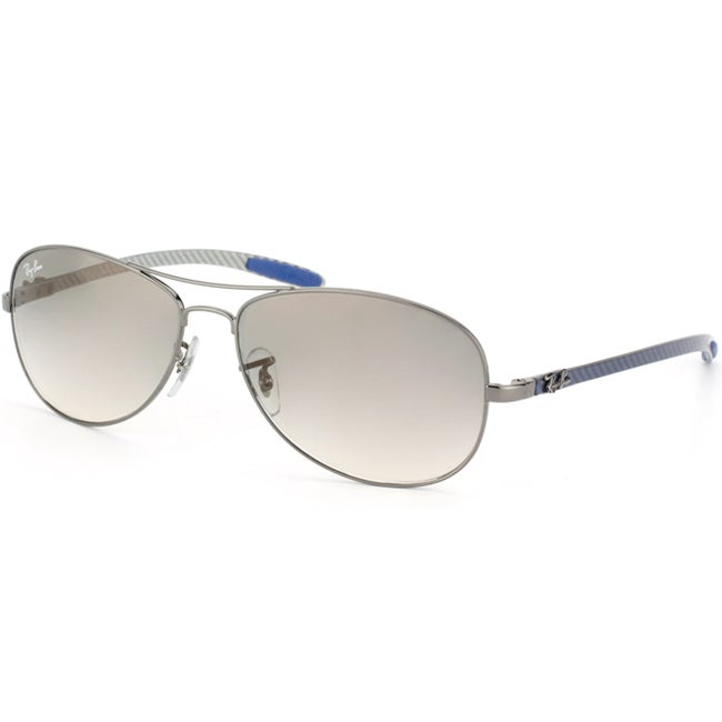 Ray-Ban Unisex 'RB 8301 Carbon Fiber 004/32' Gunmetal & Blue Cockpit Sunglasses