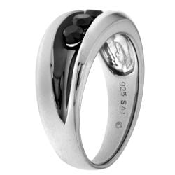 Sterling Silver 1ct TDW Men's Black Diamond 3-stone Ring - Thumbnail 1