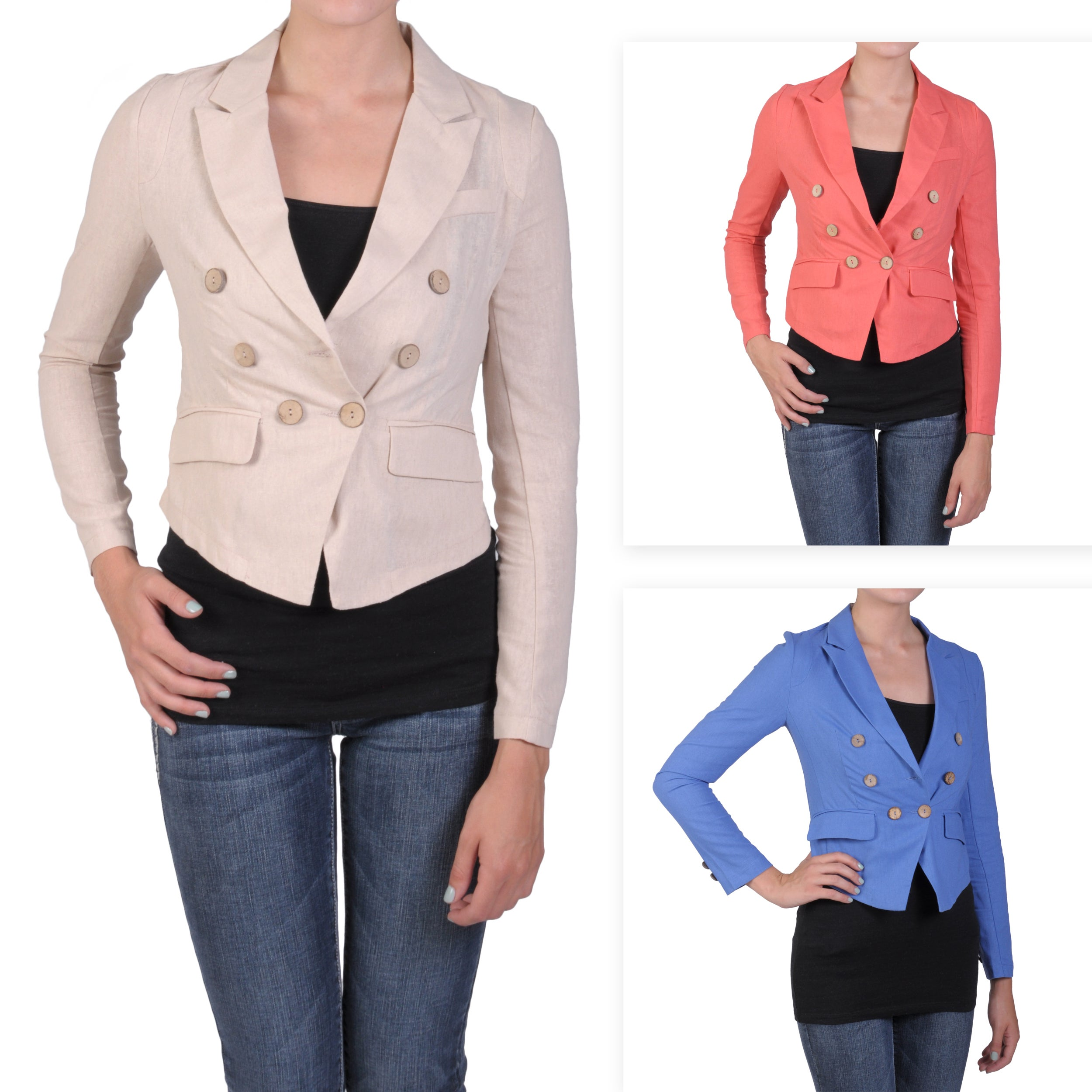 T by Hailey Jeans Co. Junior's Cropped Double-breasted Fitted Jacket