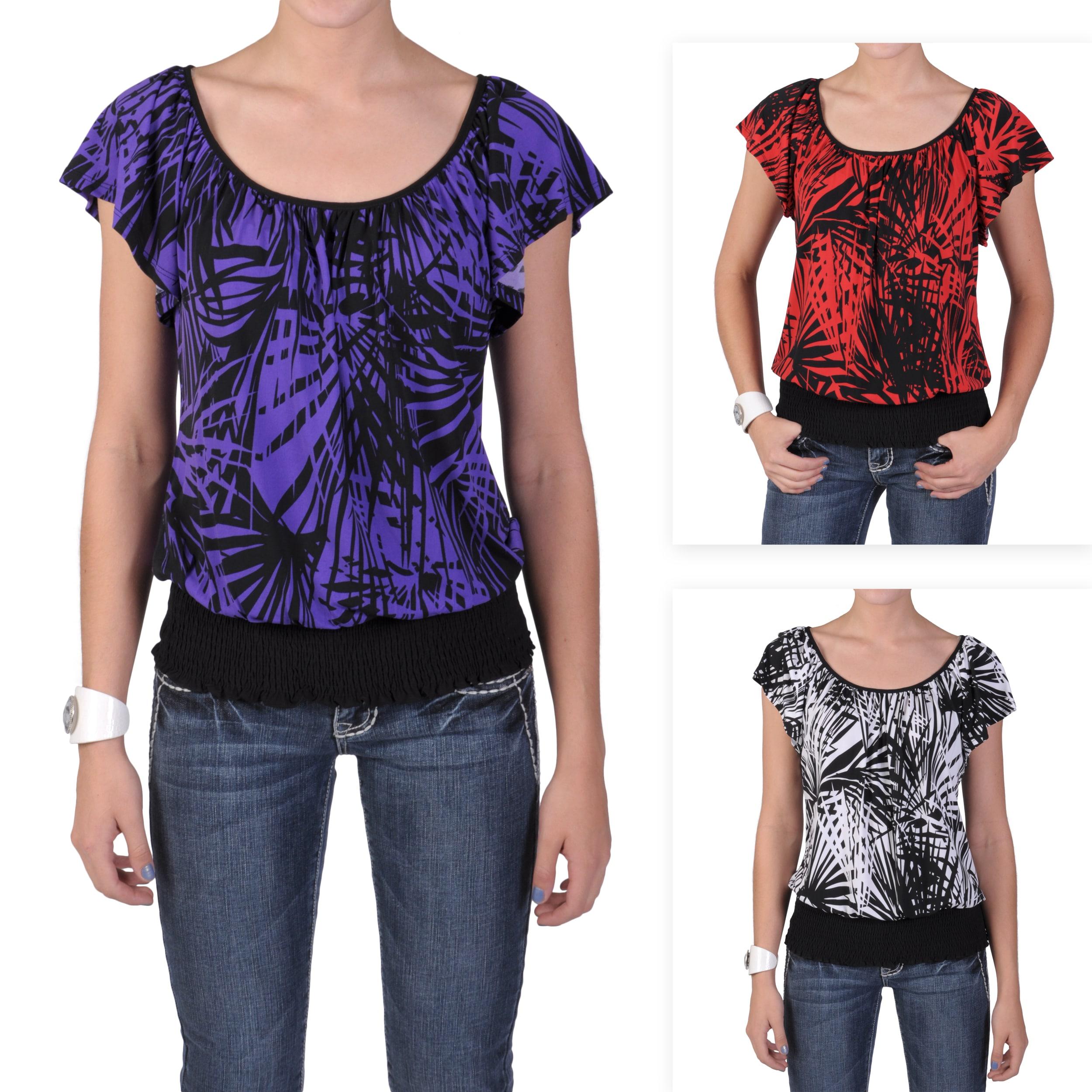 Tressa Designs Women's Contemporary Plus Short-sleeve Smocked Top