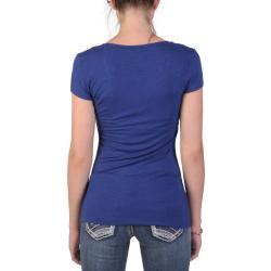 Journee Collection Junior's Stretchy Cap Sleeve V-neck Tee
