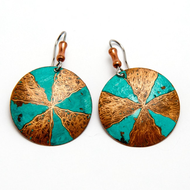 Brass Pinwheel Handmade Earrings with Surgical Steel Hooks (Brazil)