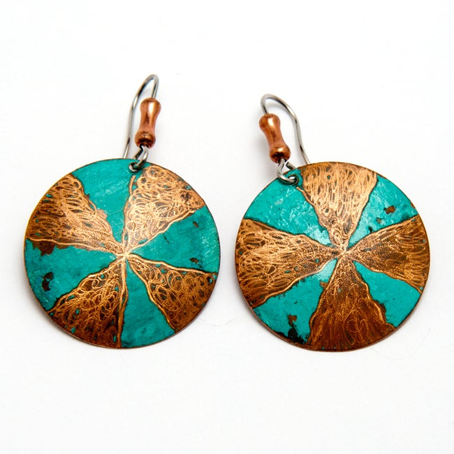 Brass Pinwheel Handmade Earrings with Surgical Steel Hooks (Brazil) - Thumbnail 0