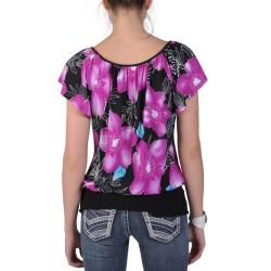Tressa Designs Women's Contemporary Plus Short-sleeve Smocked Top - Thumbnail 1