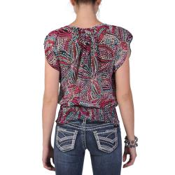 Tressa Designs Women's Short-sleeve Smocked Waist Chiffon Top - Thumbnail 1