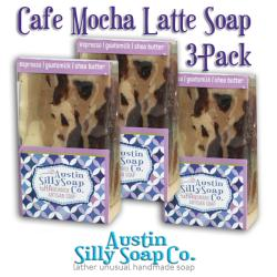 Austin Silly Soap Pack of 3 Cafe Mocha Latte Handmade Soap with Shea Butter & Goatsmilk - Thumbnail 1
