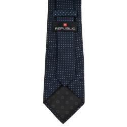 Republic Men's Dotted Navy Blue Tie - Thumbnail 1