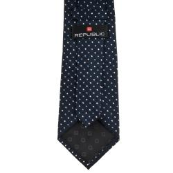 Republic Men's Dotted Navy Blue Tie - Thumbnail 1
