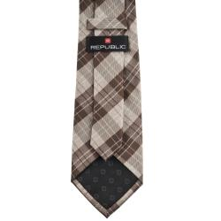 Republic Men's Plaid Woven Microfiber Tie - Thumbnail 1