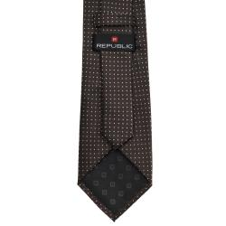 Republic Men's Espresso Dotted Tie - Thumbnail 1