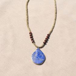 Hand-made Blue Lapis Lazuli Teardrop Pendant Necklace (Afghanistan)