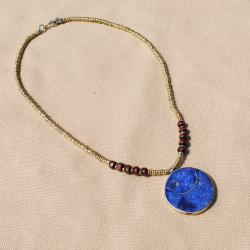 Hand-made Blue Lapis Lazuli Round Pendant Necklace (Afghanistan)