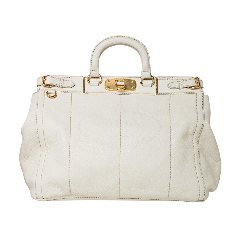 Prada Cream Stamped Leather Tote Bag