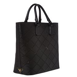 Prada Large Black Perforated Saffiano Leather Tote Bag