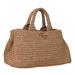 Prada Camel Raffia Tricot Tote Bag