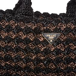 Prada Bi-color Raffia Tote Bag - Thumbnail 2