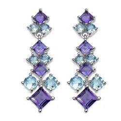 Malaika Sterling Silver 5ct TGW Amethyst and Blue Topaz Earrings
