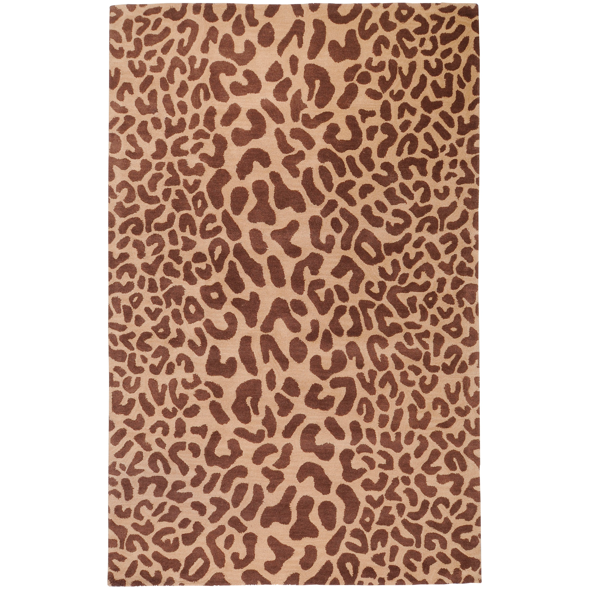 Hand-tufted Tan Leopard Strasbourg Animal Print Wool Rug (2' x 3') - Thumbnail 0