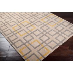 Hand Tufted Terrier Beige Geometric Squares Wool Rug (2' x 3') - Thumbnail 1