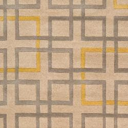 Hand Tufted Terrier Beige Geometric Squares Wool Rug (2' x 3') - Thumbnail 2