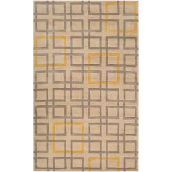 Hand Tufted Terrier Beige Geometric Squares Wool Rug (2' x 3')