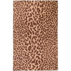 Hand-tufted Tan Leopard Strasbourg Animal Print Wool Rug (2' x 3')