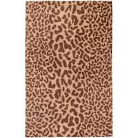 Hand-tufted Tan Leopard Strasbourg Animal Print Wool Area Rug (2' x 3') - 2' x 3'