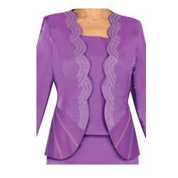 Divine Apparel Women's Plus Scallop Hem Rhinestone Skirt Suit